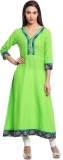 Green Solid Anarkali