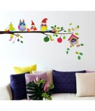 StickersKart Merry Christmas Winter Owls Decor Wall Decor – Multicolour (70×25 cms)